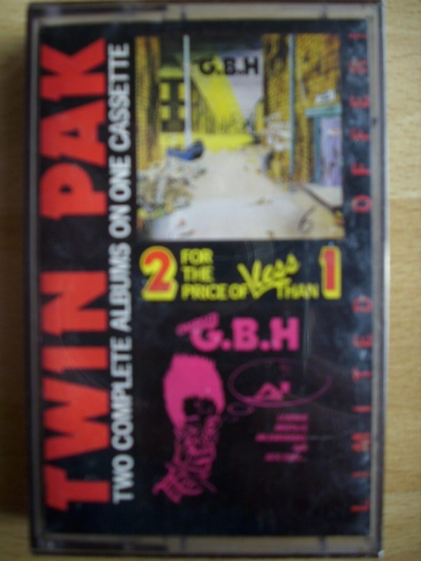 "Gbh - TWIN PAK Two Complete Albums On One Cassette ""City Baby Attacked By Rats"" / ""Leather, Bristles, No Survivors And Sick Boys"""