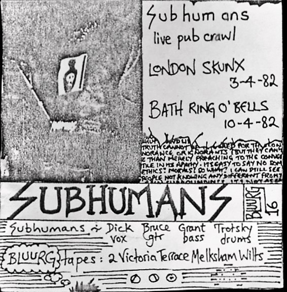 Subhumans - Subhumans Live London Putney White Lion